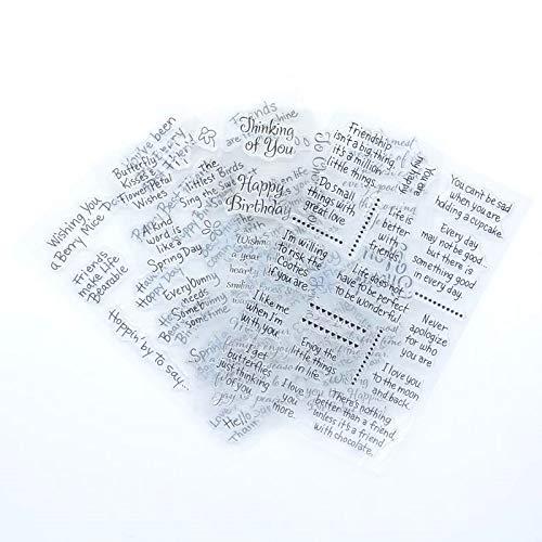 Welcome to Joyful Home 4pcs/Set Different Sentiments Rubber Clear Stamp for Card Making Decoration and Scrapbooking
