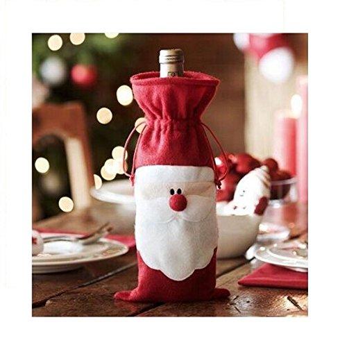 Miya® 2-delige set super schattig kerstfeest wijnfles wijntas tassen afdekking geschenktas voor wijn, champagne, tafeldecoratie voor Kerstmis, DIY decoratie