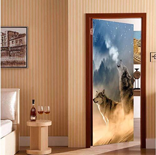 MNJKH Türaufkleber Wandbild, kreative 3D Wolf Hund Gebrüll für Wohnzimmer Schlafzimmer Türdekoration Aufkleber Wallpaper Wandbild selbstklebend wasserdicht Home Decor