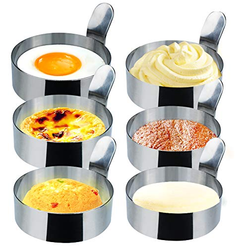 Egg Ring,6Pack 3.5 and 3inch Non Stick Fried Egg Cooking Rings Deep Egg,Durable Metal Circle Egg Ring for Cooking Fried Egg,Pancake,Egg Sandwich Mold