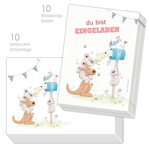 emufarm 10 EINLADUNGEN zum Kindergeburtstag Post FÜR Dich inklusive 10 passende Umschläge / Einladung Kindergeburtstag für Jungs und Mädchen