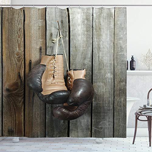 ABAKUHAUS Braun Duschvorhang, Vintage Boxhandschuhe, mit 12 Ringe Set Wasserdicht Stielvoll Modern Farbfest und Schimmel Resistent, 175x180 cm, Braun