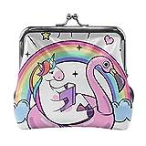 Geldbörse Metall Schloss Geldbörse, Kuss und Schnalle Geldbörse Handtasche Fantasy Unicron auf Flamingo aufblasbaren Kreis ändern