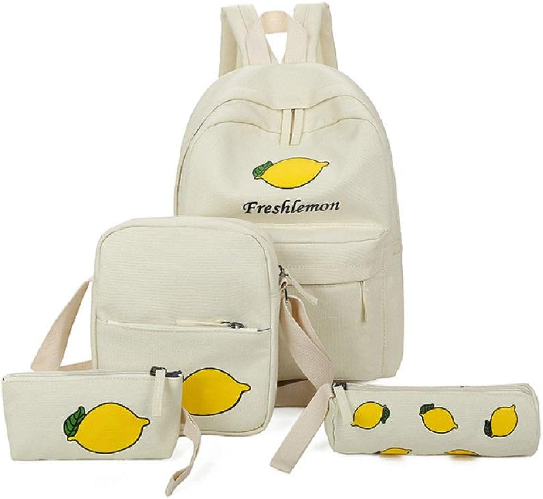 Qiusa Zitrone 4 Teile Set Set Set Jugendliche Schultasche Canvas Printing Rucksack Männer Schulrucksack Jungen Backpack Weiß (Farbe   Weiß) B07G5QG1X2 | Starke Hitze- und Abnutzungsbeständigkeit  ef70e2
