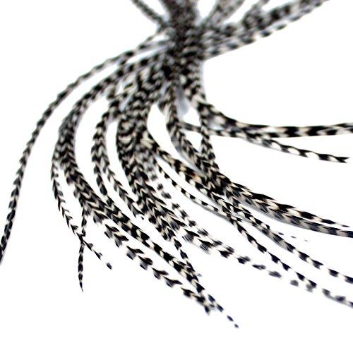 Grizzly Lot de 7 extensions de cheveux en plumes véritables avec anneaux et boucle 28-33 cm