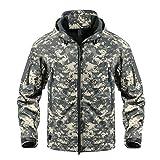 CRYSULLY Chaqueta digital Caza Camo táctico suave Shell polar chaquetas para hombres impermeable abrigo