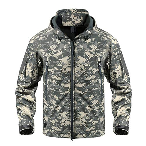 CRYSULLY Military Army Hunting Camo Tactical Soft Shell Fleece Jackets for Men Waterproof Coat