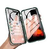 JCGOOD iPhone 11 ケース アルミ バンパー カバー 透明 両面 強化 ガラス ケース 360°全面保護 スマホケース アイフォン11 ケース マグネット式 表面 と 背面 クリア ケース 軽量 薄型 擦り傷防止 耐衝撃 ワイヤレス充電対応 ブラック