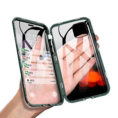 JCGOODiPhone11ケースアルミバンパーカバー透明両面強化ガラスケース360°全面保護スマホケースアイフォン11ケースマグネット式表面と背面クリアケース軽量薄型擦り傷防止耐衝撃ワイヤレス充電対応ブラック