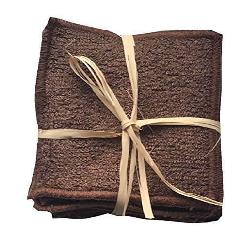 FIBAO Pack de 7 Carrés Démaquillants en Eponge de Bambou Chocolat