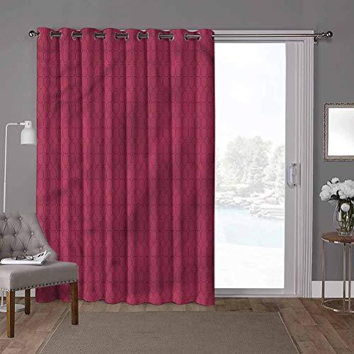YUAZHOQI cortina aislante térmico para oscurecimiento de la habitación, rosa, líneas finas ovaladas, tejas de forma ovalada, 52 x 84 pulgadas de ancho para sala de estar (1 panel)