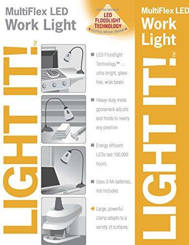 Light It! By Fulcrum, 6-LED Clip On Desk Lamp, Wireless, Silver