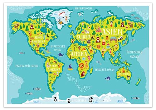 WELTKARTE KINDER - Poster Weltkarte für´s Kinderzimmer mit Tieren, Pflanzen und Sehenswürdigkeiten DIN A2