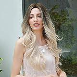 HAIRCUBE Lamera rizada larga Ombre Rubia Rubia Roots a la peluca blanca para las mujeres Party Halloween Cosplay y uso diario