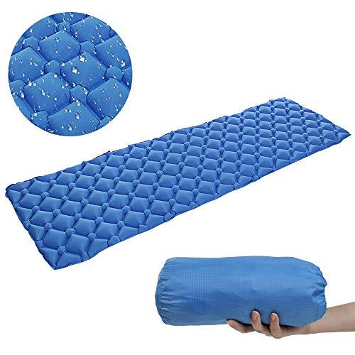 Coersd Self Inflating Sleeping Pad Camping Lab Ultralight Sleeping Pad Ultra Compact for Backpacking Camping Storage Bag (Blue)