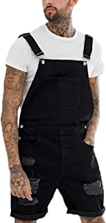 babao Mens Jean Shorts Denim Dungarees Bib and Braces Overalls Retro Distressed Playsuit Jumpsuit