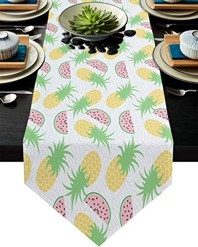 Savannan Kitchen Table Runner Watermelon Pineapple Pattern Cartoon Summer Theme Burlap Table Runner Dresser Scarves for Family Dinner, Outdoor or Indoor Parties, Gathering, 13'x120'