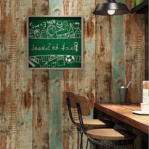 Papel Pintado Wallpaper Papel pintado retro estilo industrial del papel pintado 3D rollo de PVC resistente al agua decoración de la pared de fondo de la pared del café restaurante, 4 colores, 10 x 0.5