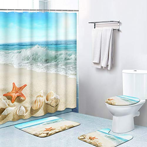 Britimes 4 Piece Shower Curtain Sets, with 12 Hooks, Ocean Summer Sea Starfish with Non-Slip Rugs, Toilet Lid Cover and Bath Mat, Durable and Waterproof, for Bathroom Decor Set, 72' x 72'