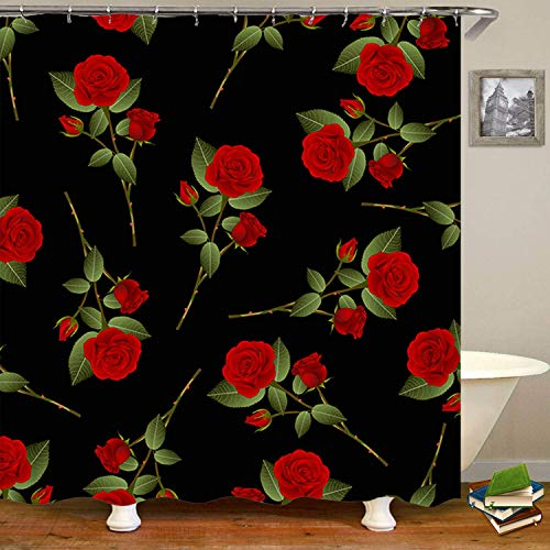 Haloxa Red Rose Bouquet On Black Shower Curtain,Waterproof Polyester F