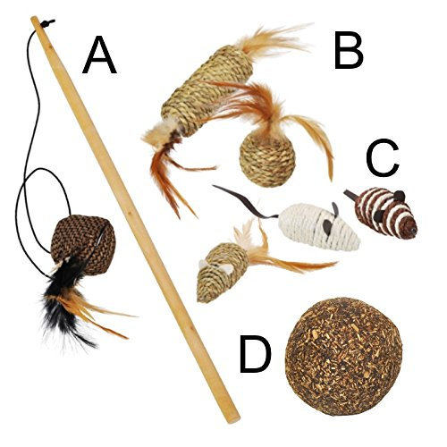 VOSS.PET Katzenspielzeug Set: 4 Teile ECO Katzenangel Katze Spielzeug Bälle Maus Sisal