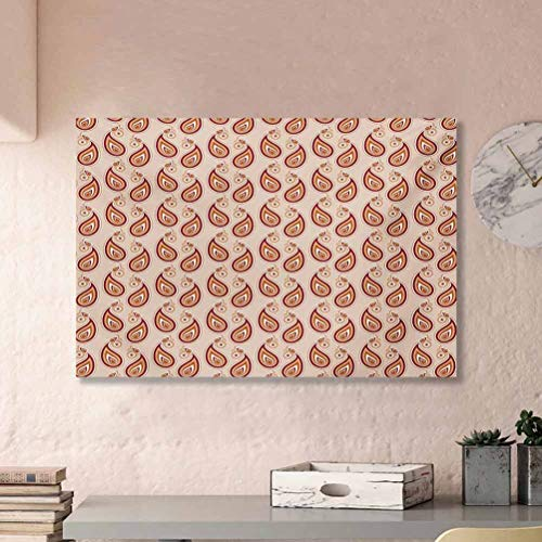 Paisley Wall Candle Holders Decorative Contemporary Illustration of Persian Style Paisley and Patterns Print Toddler Easter Gifts Pale Peach Pale Orange L24 x H36 Inch