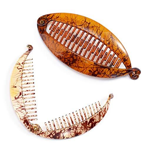 Avicom Haarspangen, braun, Bananen-Clip, Fischkamm, breit, gekörnt, lange Haarspangen, Haar-Accessoires für Frauen und Mädchen (2 Stück) (groß)