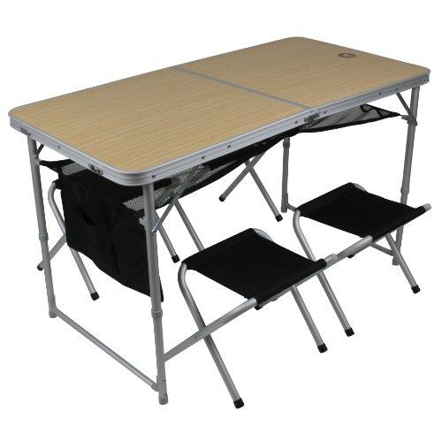 10T Outdoor Equipment 10T1497-4260181760292 Tisch Set Portable Family 4 Mann Alu Campingtisch Picknick Koffertisch mit Sitz-Hockern, Schwarz Beige PB4, 120 x 60 x 70 cm