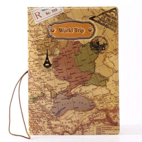 1 Piece World Map PU Leather Passport Protector for Passport Card Bank Card Cash Coin