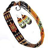 Viva Handmade Beaded Indian Fashion Jewelry Black Fire Color Seed Beads Turtle Bead Work Necklace Earrings Set 53/2