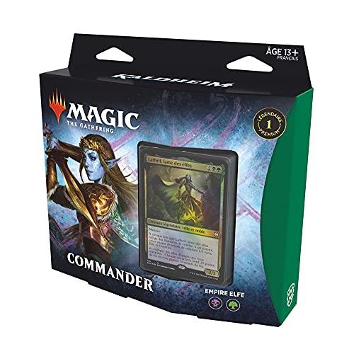 Magic The Gathering Commander Kaldheim : Empire Elfe (Deck de 100 Cartes prêt-à-Jouer), Vert-Noir
