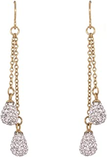 Bevilles Yellow Stainless Steel Pave Crystal Drop Earrings