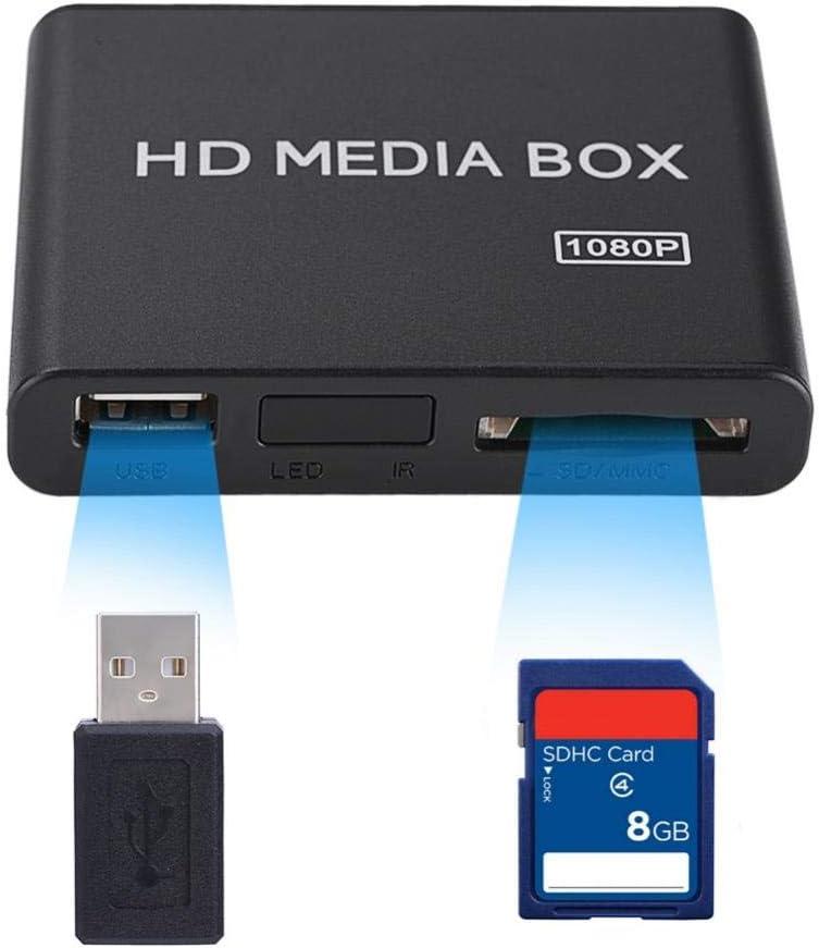 EBTOOLS Mini HD Media Player Box, 1080P Video Media Player Support USB MMC RMVB MP3 AVI MKV(US-Plug)