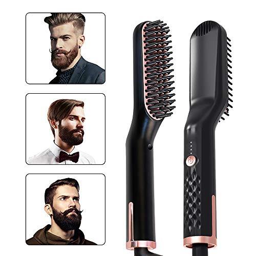 YYR Hair Straightener Brush, 3 in 1 Beard Straightener, Best Ceramic Brush, Three Modes, Adjustable Temperature, Anti-Scald Technology, The Best Gift for Men