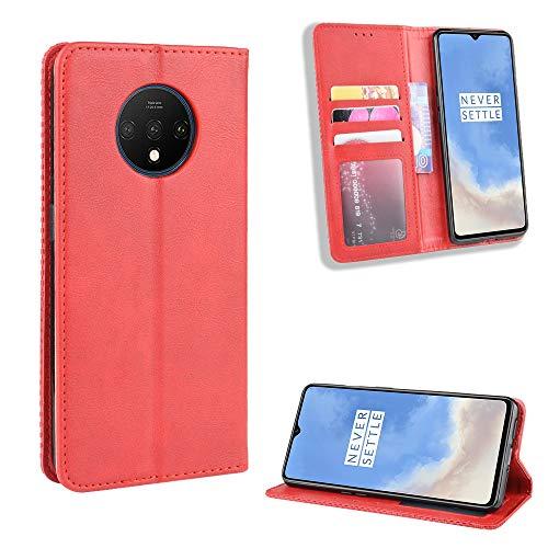 Snow Color OnePlus 7T Hülle, Premium Leder Tasche Flip Wallet Case [Standfunktion] [Kartenfächern] PU-Leder Schutzhülle Brieftasche Handyhülle für OnePlus 7T - COBYU010840 Rot