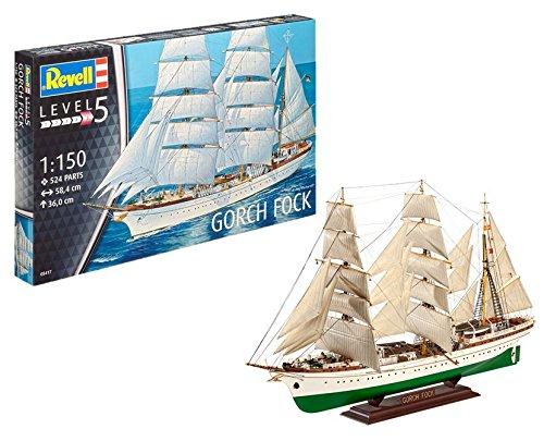Revell Modellbausatz Schiff 1:150 - Gorch Fock im Maßstab 1:150, Level 5, originalgetreue Nachbildung mit vielen Details, Segelschiff, 05417