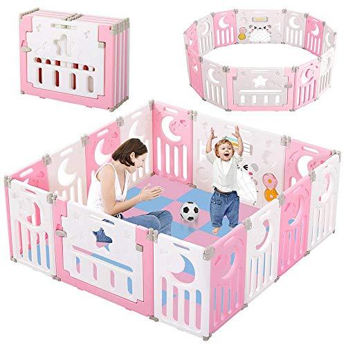 Dripex Parque para Bebés, Corralito Bebe, Centro de Actividades para Niños, Patio de Juegos de Seguridad Hogar Interior Exterior de 0 a 6 Años, Plegable 12 + 2 paneles, Rosado-blanco