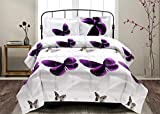 7 Piece Set Goose Down Alternative Comforter 3D Purple Butterfly Print...