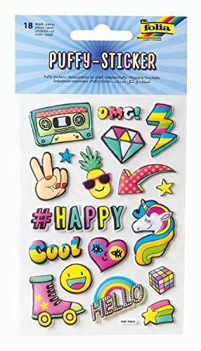 folia 19801 - Puffy Sticker I mit trendigen Motiven, 18 Stück, ideal geeignet zum Verzieren von Grußkarten, Bastelarbeiten und Scrapbooking