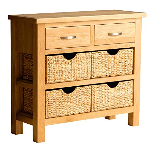 RoselandFurniture London Oak Console Table with Baskets and 2 Drawers | Solid Wooden Hall Storage Cabinet for Living Room, Bedroom, Hallway, Kitchen or Bathroom, Fully Assembled