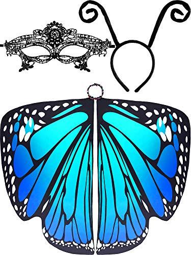 3 Stück Schmetterling Flügel Form Schal Umhang Ameisen Stirnband Spitze Maske für Kostüm Zubehör - Schwarz -