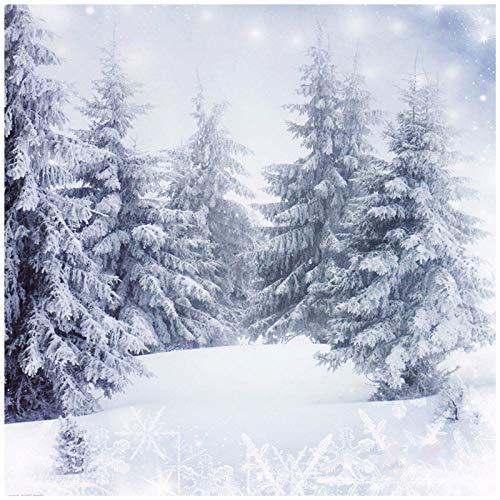 king do way Fondo de Fotografía de Navidad 3X3M, Fondo de Arbol de Nieve Blanca de Fotografía, Navideño Retrato de la Fotografía, Paisaje de Fondo de Vinilo Snowflake