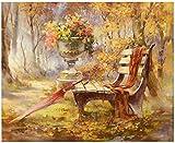 AiEllen - Kit de pintura de diamantes para bricolaje, silla con agujeros completos y paraguas para decoración de pared, 30,48 x 45,72 cm