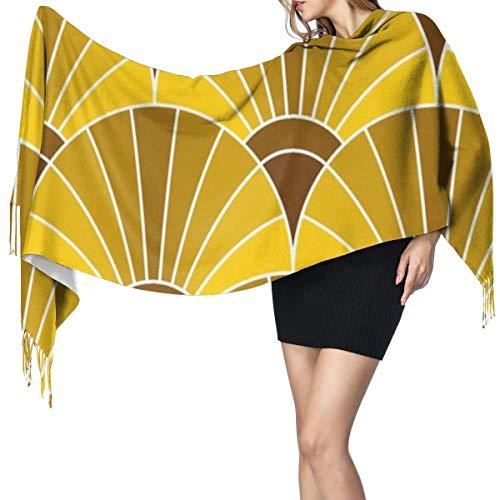 Chal de bufanda de bronce dorado con diseño de escalas de abanico,...