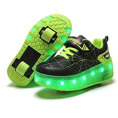 YUANY Niños Spiderman LED Zapatillas de Skate de Ruedas Dobles Deportes al Aire Libre Zapatos de patineta con Ruedas Carga USB Zapatos Luminosos Intermitentes de 7 Colores,Green- 29EU