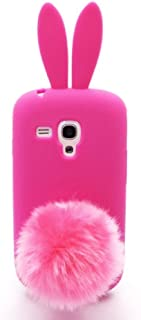 Galaxy S3 SIII Mini I8190,Anya 3D Cute Bow Classic Cartoon Animal Series Soft Rubber Silicone Back Shell Case Cover Skin for Samsung Galaxy S3 S III Mini I8190 Rabbit Hot Pink