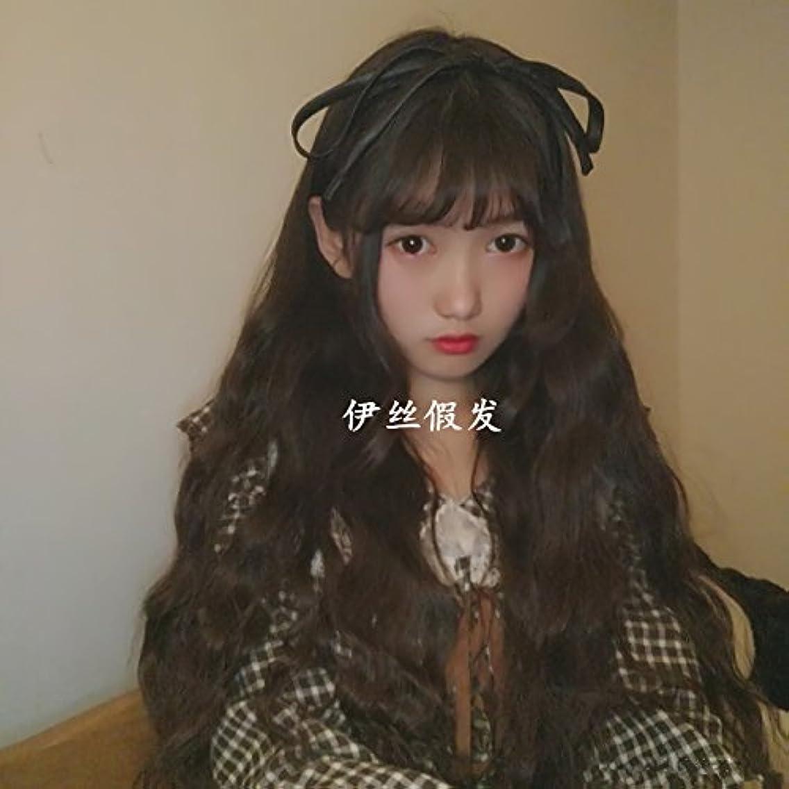 South Korean women girls female long hair wig Liu corn hot air with long red hairnet money fluffy natural and realistic fake hair