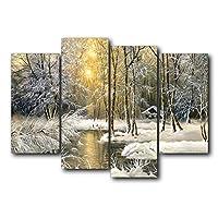 DIHEFAキャンバス写真北欧モダンスタイル冬大雪ジャングルサンシャインポスターリビングルーム用装飾/ 30X60cmx2,30X80cmx2、フレームなし