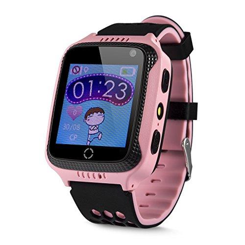 """Das Babyland DB Kinder GPS Uhr Smartwatch Telefon """"Be Clever"""" ohne Abhörfunktion mit Echtzeitpositionierung SOS Notruf Sicherheits GPS Tracker Support App Anleitung in Deutsch Farbe rosa"""