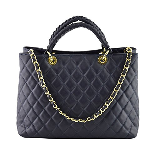 Dream Leather Bags Made in Italy toskanische echte Ledertaschen Echtes Leder Gestepptes Handtasche Farbe Dunkelblau - Italienische Lederwaren - Damentasche